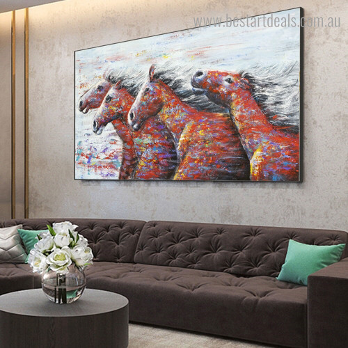 Dapple Running Horses Abstract Animal Framed Portraiture Photo Canvas Print for Room Wall Onlay