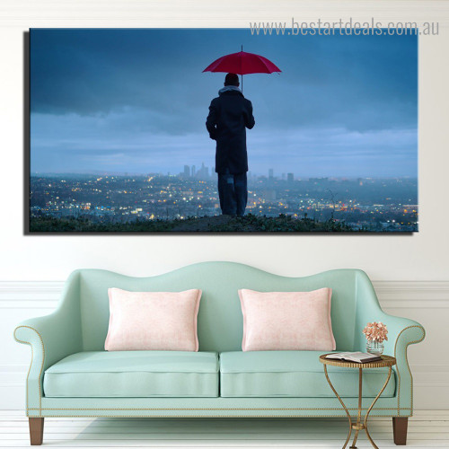 Man Holding Umbrella City Nature Modern Framed Portraiture Photo Canvas Print for Room Wall Flourish