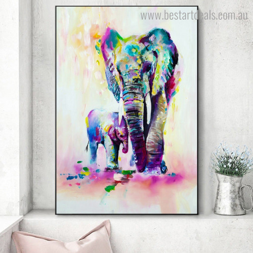 Dapple Elephants Abstract Animal Framed Painting Portrait Canvas Print for Room Wall Outfit