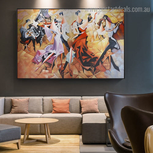 Dancer Couple Abstract Figure Framed Painting Image Canvas Print for Room Wall Adornment
