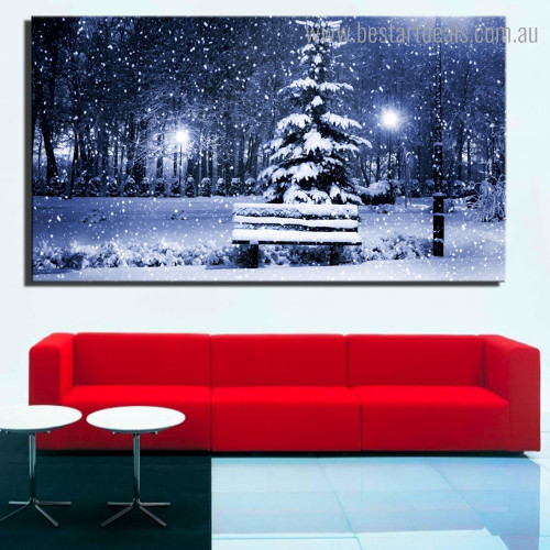 Snow Land Nature Modern Framed Artwork Photograph Canvas Print for Room Wall Decoration