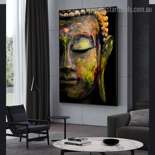 Gautama Sculpture Religious Modern Framed Painting Picture Canvas Print for Room Wall Onlay