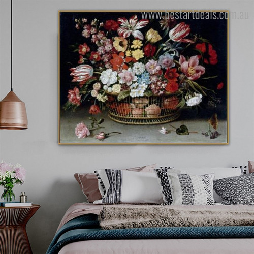 Floral Basket Floral Framed Painting Image Canvas Print for Room Wall Onlay