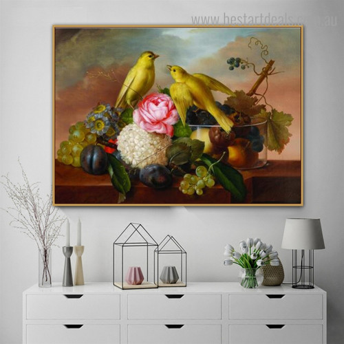 Still Life with Fruit Bird Framed Painting Photo Canvas Print for Room Wall Garnish