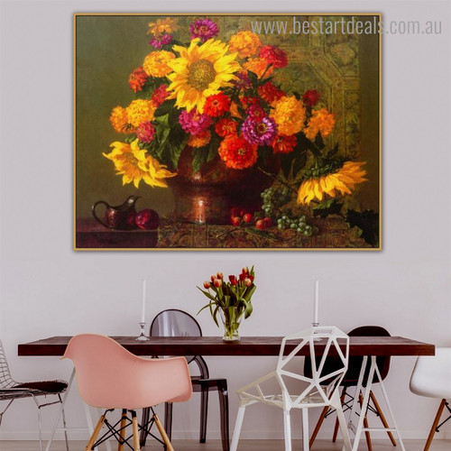 Classical Chrysanthemum Floral Framed Painting Picture Canvas Print for Room Wall Disposition
