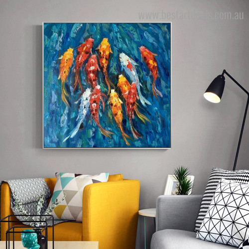 Dapple Fishes Animal Watercolor Graffiti Framed Painting Photo Canvas Print for Room Wall Drape