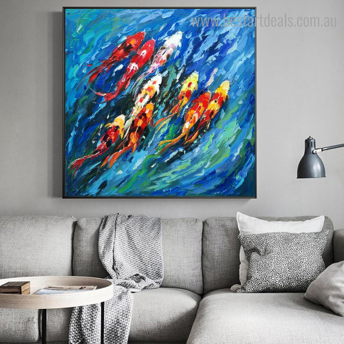 Lucky Fishes Animal Watercolor Graffiti Framed Painting Image Canvas Print for Room Wall Disposition