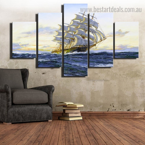 Ocean Boat Landscape Modern Framed Painting Picture Canvas Print for Room Wall Finery
