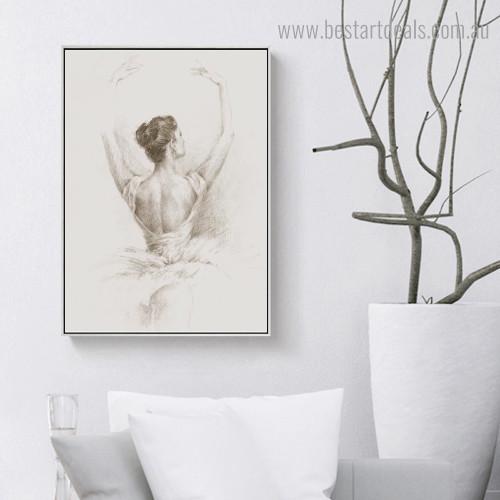 Ballerina Girl Backside Abstract Figure Framed Artwork Image Canvas Print for Room Wall Garniture