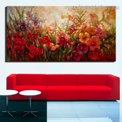Floweret Plants Botanical Impressionist Framed Painting Pic Canvas Print for Room Wall Finery