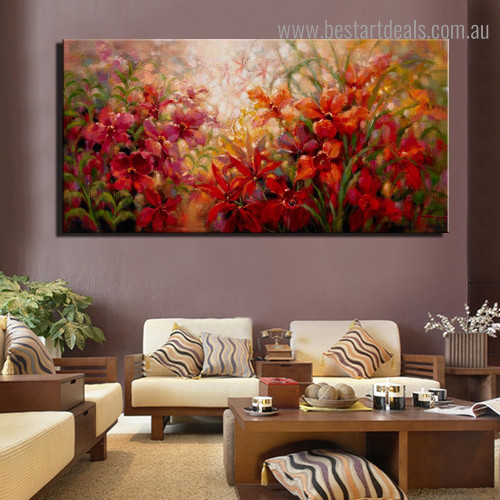Colorful Flower Plants Abstract Botanical Impressionist Framed Painting Image Canvas Print for Room Wall Decor