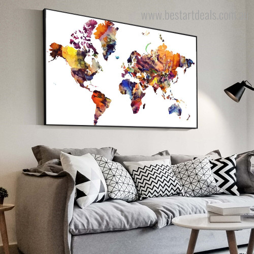 Chromatic Map Abstract Framed Artwork Photo Canvas Print for Room Wall Disposition