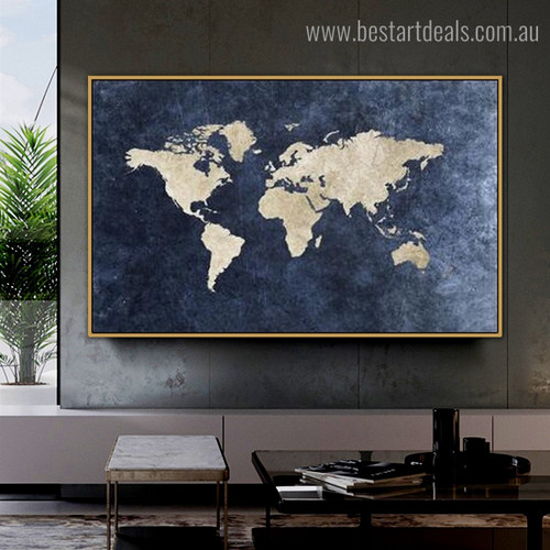 Calico Map Abstract Vintage Framed Artwork Image Canvas Print for Room Wall Decoration