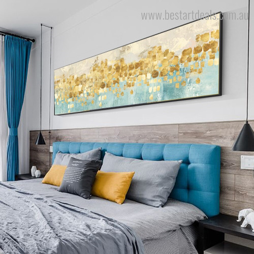 Golden Dots Abstract Modern Framed Painting Picture Canvas Print for Room Wall Drape