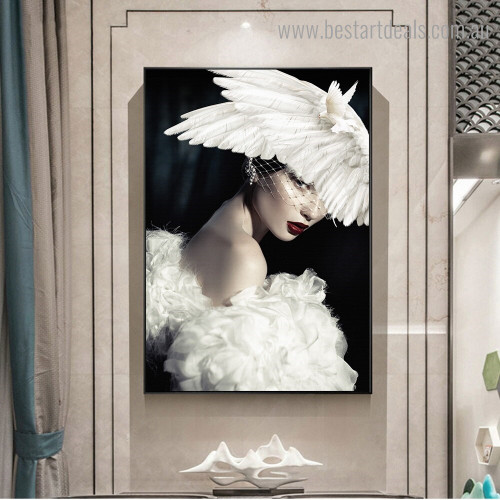 Girl Pigeon Bird Figure Modern Framed Artwork Pic Canvas Print for Room Wall Decor