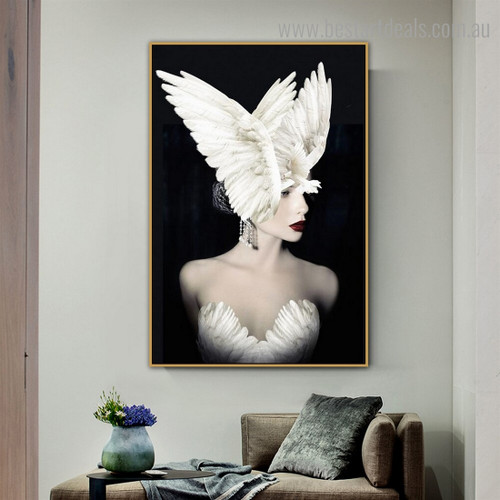 Wench White Pigeon Bird Figure Modern Framed Artwork Image Canvas Print for Room Wall Assortment