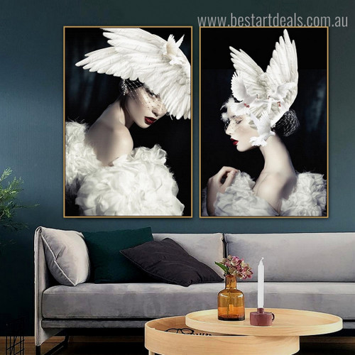 Pigeon Ladies Bird Figure Modern Framed Artwork Photo Canvas Print for Room Wall Assortment
