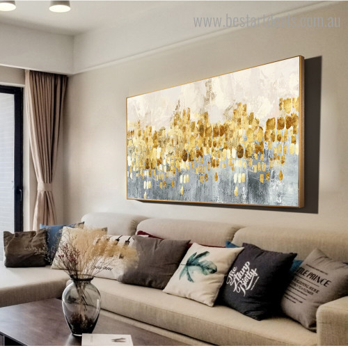 Gold Spots Abstract Modern Framed Painting Photo Canvas Print for Room Wall Decoration