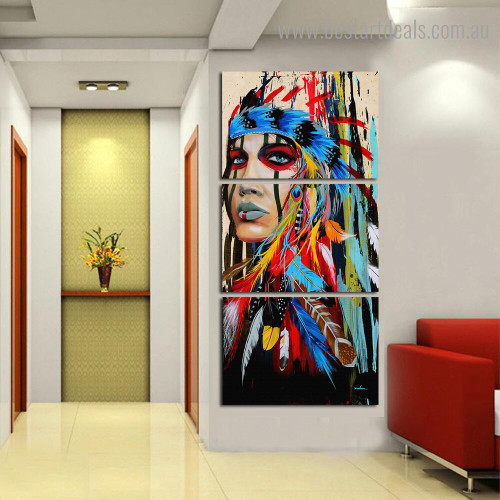 Dapple Feather Lady Abstract Figure Framed Painting Picture Canvas Print for Room Wall Flourish