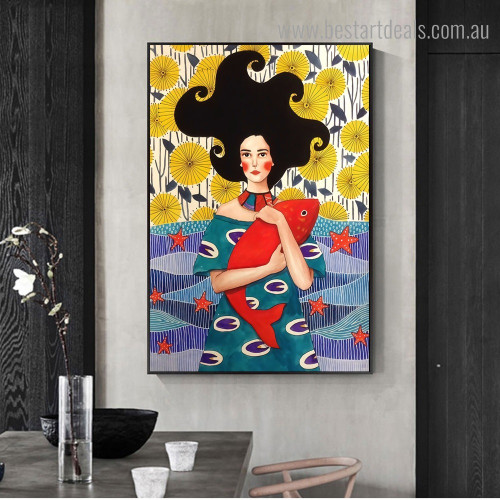 Girl Fish Figure Nordic Framed Painting Image Canvas Print for Room Wall Finery