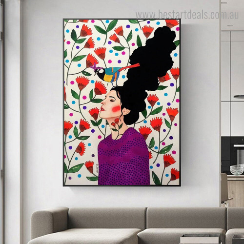 Red Flower Girl Figure Nordic Framed Painting Image Canvas Print for Room Wall Finery