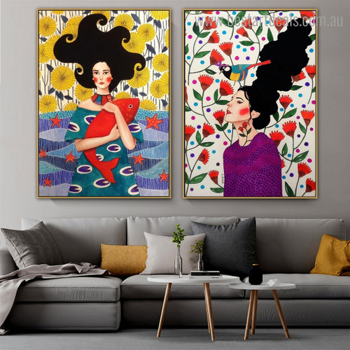 Two Girls Figure Nordic Framed Painting Image Canvas Print for Room Wall Garnish