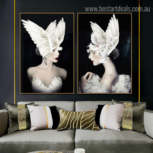 Pigeon with Girls Figure Framed Painting Image Canvas Print for Room Wall Decoration