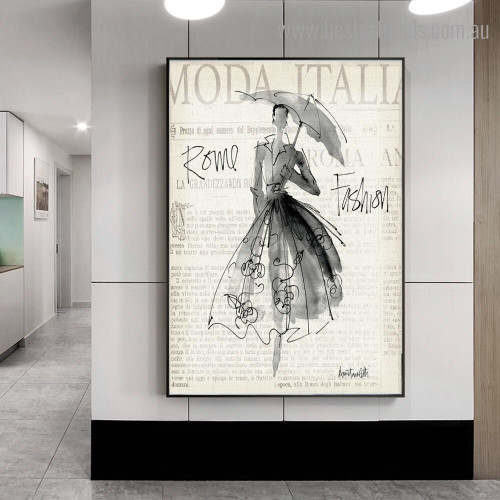 Umbrella with Girl Abstract Figure Framed Painting Photo Canvas Print for Room Wall Ornament