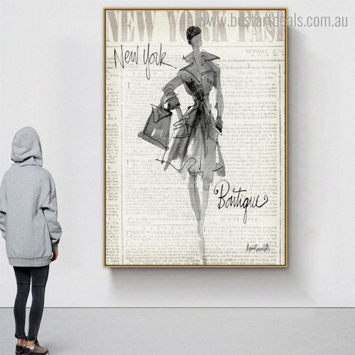 Girl with Purse Abstract Figure Framed Painting Photo Canvas Print for Room Wall Finery