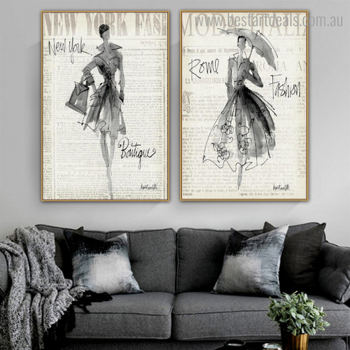 New York Rome Abstract Figure Framed Painting Image Canvas Print for Room Wall Flourish