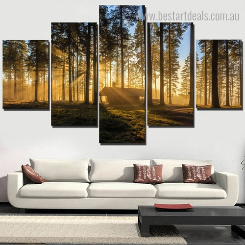 Sunshine in Forest Landscape Nature Framed Painting Picture Canvas Print for Room Wall Tracery