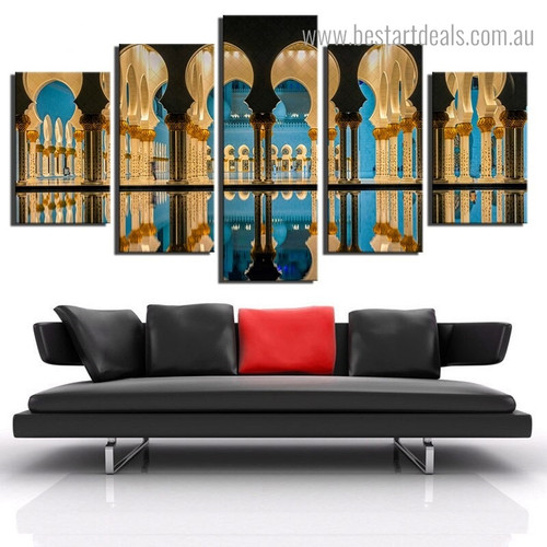 Sheikh Zayed Night Religious Framed Painting Picture Canvas Print for Room Wall Garniture