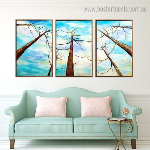 Trees Abstract Landscape Framed Painting Image Canvas Print for Room Wall Adornment