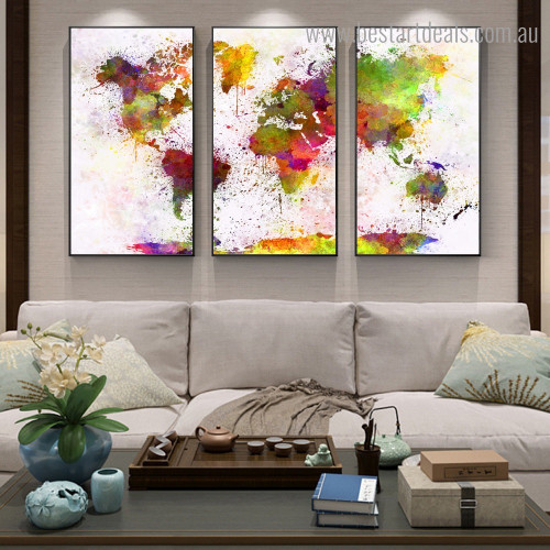 Dapple World Map Abstract Watercolor Framed Artwork Photo Canvas Print for Room Wall Assortment