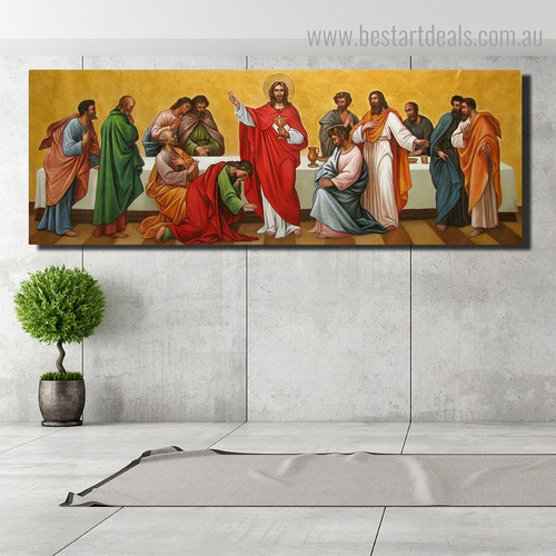 Jesus and Apprentices Christian Religious Framed Painting Photo Canvas Print for Room Wall Ornament