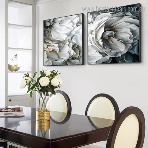 White Petal Rose Abstract Floral Framed Artwork Image Canvas Print for Room Wall Onlay