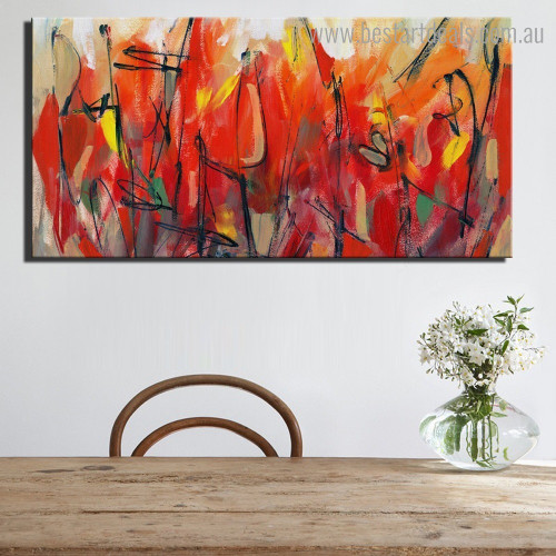Red Blooms Abstract Floral Modern Framed Painting Photo Canvas Print for Room Wall Decor