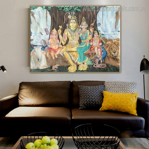Lord Shiva Family Religious Modern Framed Painting Pic Canvas Print for Room Wall Decor