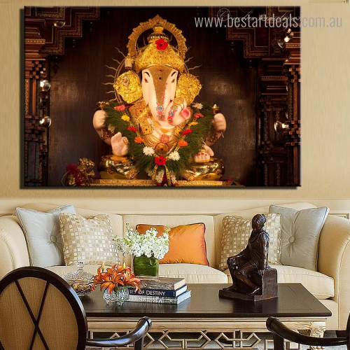 God Ekdant Religious Modern Framed Painting Image Canvas Print for Room Wall Adornment