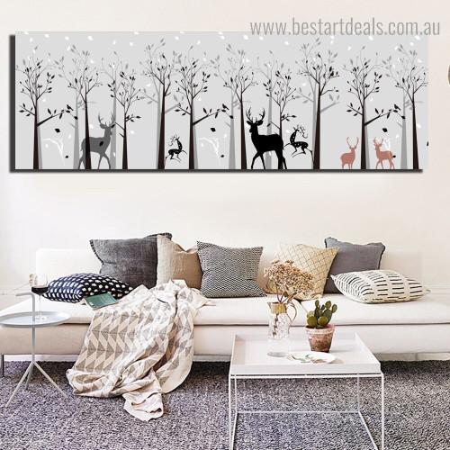 Lovely Bush Abstract Landscape Framed Artwork Image Canvas Print for Room Wall Garniture