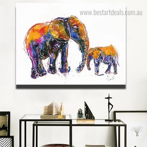 Elephant with Calf Animal Watercolor Framed Artwork Photo Canvas Print for Room Wall Decoration