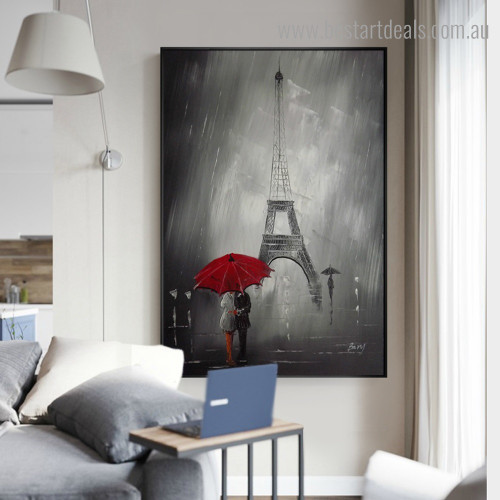 Paris Rain Season City Nature Framed Painting Photo Canvas Print for Room Wall Getup