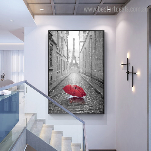 Tower Street Landscape Nature Framed Painting Picture Canvas Print for Room Wall Decor