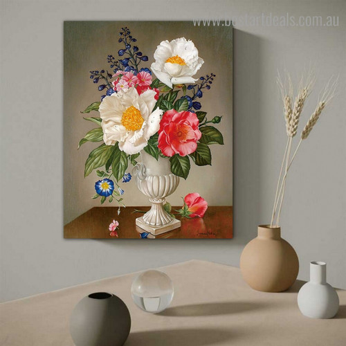 Still Life of Peonies Floral Reproduction Framed Painting Picture Canvas Print for Room Wall Decoration