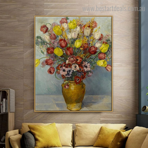Still Life with Flowers Floral Reproduction Framed Painting Pic Canvas Print for Room Wall Ornament