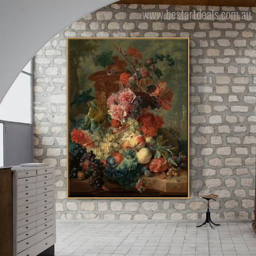 Fruit Piece Floral Reproduction Framed Painting Photo Canvas Print For Room Wall Onlay