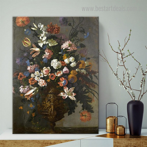 Roses Tulips Floral Reproduction Framed Painting Photo Canvas Print for Room Wall Adornment