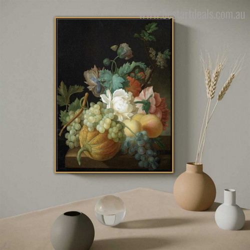 Roses Grapes Floral Reproduction Framed Painting Image Canvas Print for Room Wall Decoration