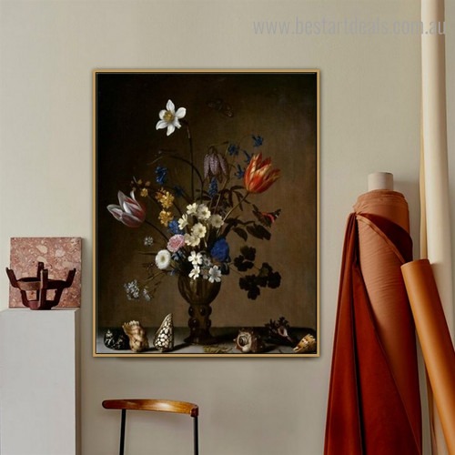 Bouquet Shells Floral Reproduction Framed Painting Image Canvas Print for Room Wall Outfit