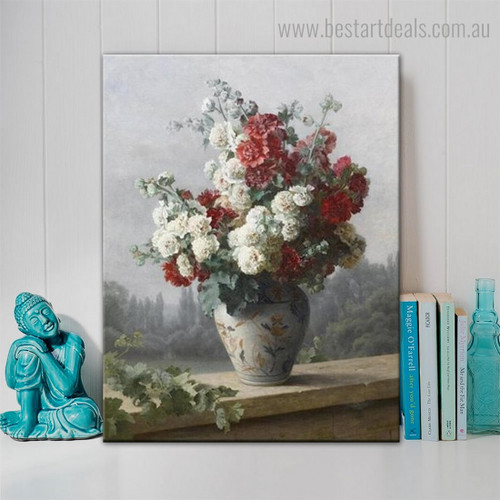 Peonies in Vase Floral Reproduction Framed Painting Picture Canvas Print for Room Wall Moulding